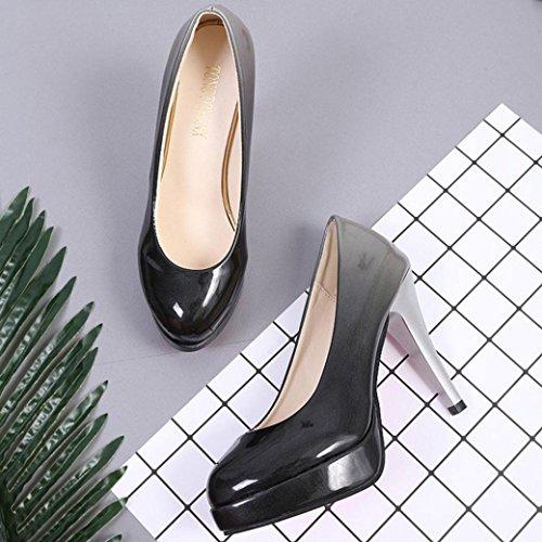 erthome cuir et en à talons la pour couleur chaussures femmes paire à mode dégradée hauts de chaussures verni 1 bas XUqnI0raXx