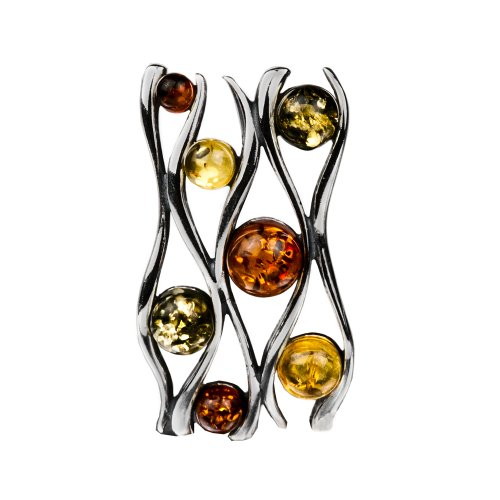 Sterling Silver Multicolor Amber Slide Pendant