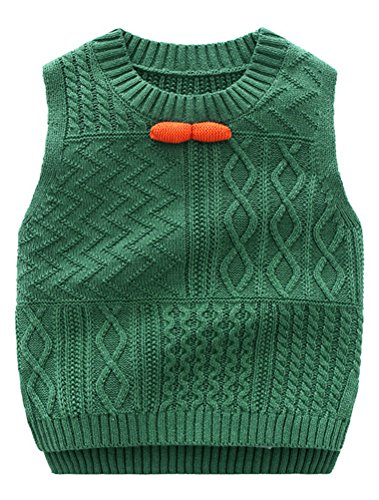 Abolai Unisex Baby Boys Girls Knit Sweater Vest Pullover Waistcoat Green 90