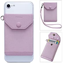 Stick on Phone Wallet, FRIFUN Ultra-slim Self Adhesive Card Holder Credit Card Wallet For Smartphones RFID Blocking Sleeve Extra Tall Pocket Totally Covers Credit Cards & Cash (Pink Plus)