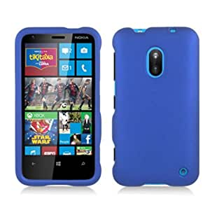 Nokia Lumia 620 (AIO Wireless) 2 Piece Snap On Rubberized Hard Plastic Case Cover, Blue + LCD Clear Screen Saver Protector