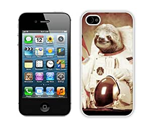 Unique iPhone 4 4S Case ,Popular And Durable Designed With Sloth Astronaut Art White iPhone 4S Cover