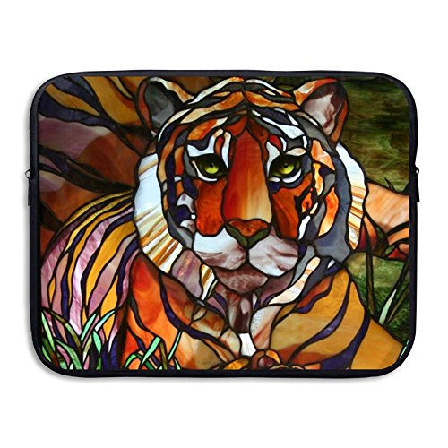 Stained Glass Tiger 13-15 Inch Padding Laptop Sleeve Bag - Notebook Computer Handbag Tablet Bag - Water-resistant Neoprene Protective Case Briefcase Carrying Bag For Men Women Teen ()
