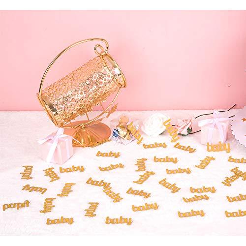 ZOOYOO Glitter Gold Baby Confetti Paper Table Confetti for Baby Showers Pack of 100 (Gold Shower Baby Confetti)