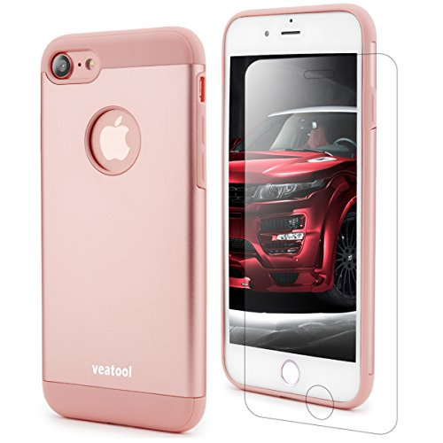 iPhone 8 Case,iPhone 7 Case,Veatool [Metal Series] One-piece Matte Back and TPU Bumper Cushion Cover for iPhone 7(2017)(Rose Gold)