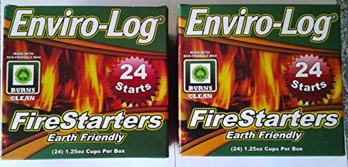 Fireplace Log Starter (NEW Enviro-Log Environment Friendly Firestarters 2 PACK (48 firestarters) for Fireplace Wood Stove Fire Pit)