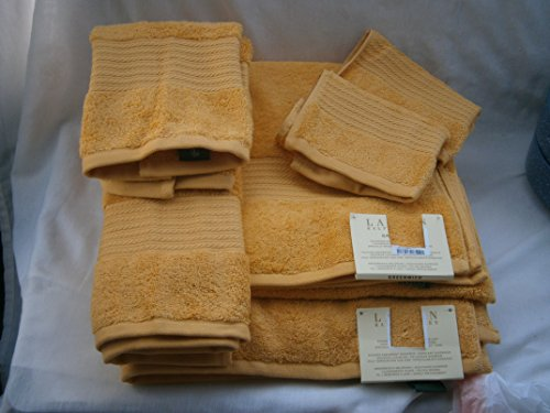 Ralph Lauren GREENWICH 6 piece Towel Set MARIGOLD Yellow; 2 bath, 2 hand, 2 washcloths