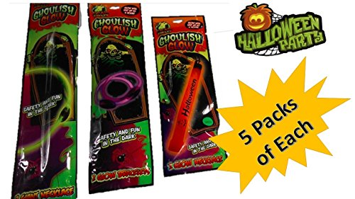 Glow Necklaces - Halloween Glow Sticks (15 Packs) Safety and Fun in The Dark For Kids Year-Round - Lighted Halloween Costume - Glow Bracelets