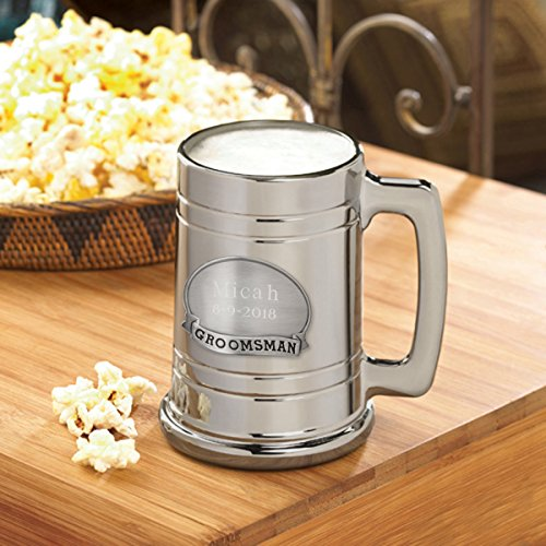 Personalized Pewter Medallion Glass (Personalized Metallic Gunmetal Beer Mug - Groomsmen Gift Beer Mug - Groomsman Medallion - Personalized Beer Mug)