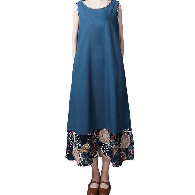 friendGG❤❤DamenKleid Große Größe Kleid Nationaler Stil Kleid Lose Kleid  Baumwolle und LeinenKleid Weste 09dcb1ea06