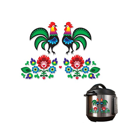 Dutch Folk Art Flowers and Rooster Full Color Vinyl Decal Pack 2 -Sided Wrap Sized To Fit an Instant Pot