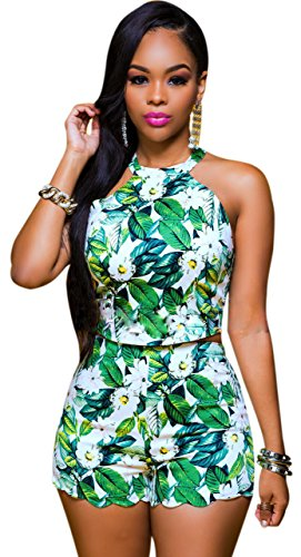 Mojessy Womens Halter Floral Playsuits product image