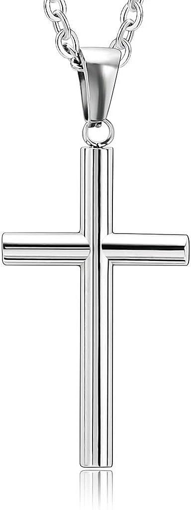 Daesar Joyería 2 Pcs Collar Acero Inoxidable de Parejas Simple Cruz Colgante Necklaces