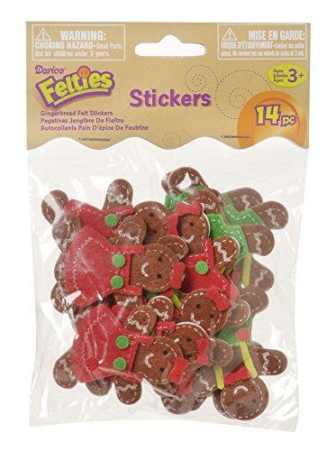 Darice Felties Felt Stickers - Gingerbread - 12 Pieces