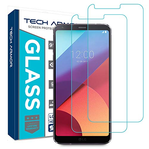 Tech Armor LG G6 / G6 Plus HD Clear Ballistic Glass Screen Protector  [2-Pack] - 99 99% Clarity and Touchscreen Accuracy