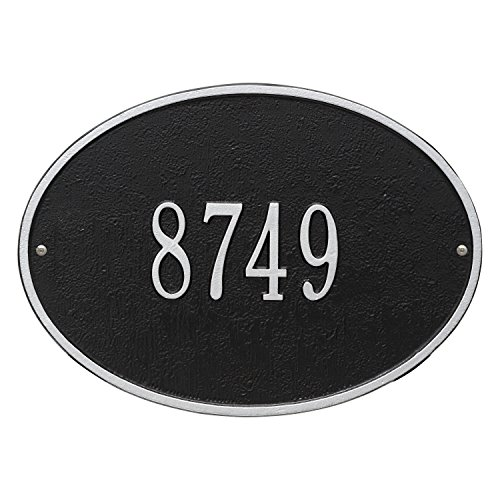 Whitehall Products Hawthorne Standard Oval Black/Silver Wall 1-Line Address Plaque