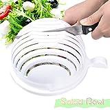 GlobalDeal Multi-color Salad Cutter Bowl, Multi-Function Vegetable Fruit Home Made Salad Value Pack Quick Salad Maker in 60 Seconds Easy Chopper Slicer Strainer Washing Chopper Tool 1PCS (A)