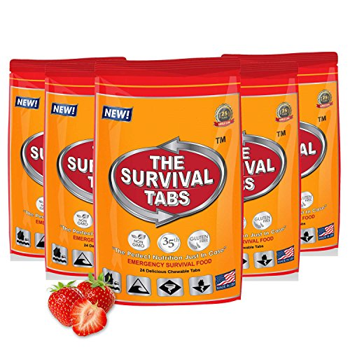 Food Supply Emergency Food Ration in 10 Days 120 tabs Survival MREs for Disaster Preparedness for Earthquake Flood Tsunami Gluten Free and Non-GMO 25 Years Shelf Life - Strawberry Flavor