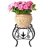 Metal Potted Plant Stand 10 inch Rustproof Decorative Flower Pot Rack Curved Legs Indoor Outdoor Iron Art Planter Holders Garden Patio Steel Fern Pots Containers Supports Corner Black