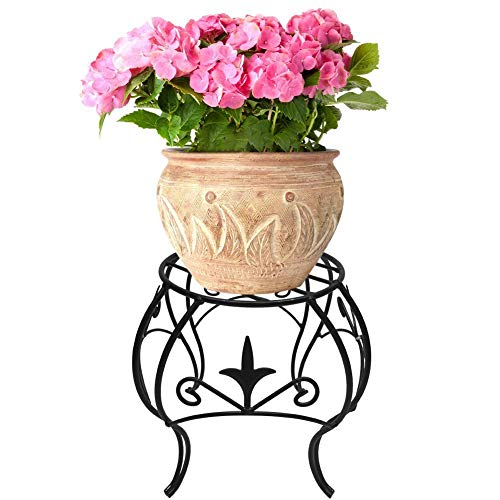 Metal Potted Plant Stand 10 inch Rustproof Decorative Flower Pot Rack Curved Legs Indoor Outdoor Iron Art Planter Holders Garden Patio Steel Fern Pots Containers Supports Corner Black by AMAGABELI GARDEN & HOME