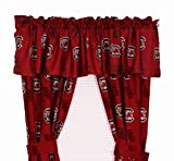 South Carolina Gamecocks - Set of (2) Printed Curtain Valance/Drape Sets (Drape Length 63'') To Decorate Two Windows - Save Big By Bundling!