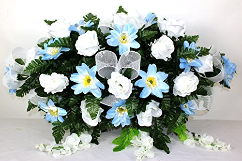 XL Beautiful Blue Dasies And White Roses Tombstone Saddle Arrangement