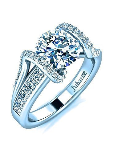 (2.54 Ctw Round Contemporary Diamond Engagement Ring Tension Set Custom Channel Shank 18K White Gold Designer Handmade Fine Jewellery)