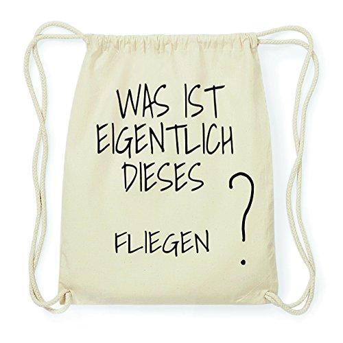 JOllify FLIEGEN Hipster Turnbeutel Tasche Rucksack aus Baumwolle - Farbe: natur Design: Was ist eigentlich kJMaf