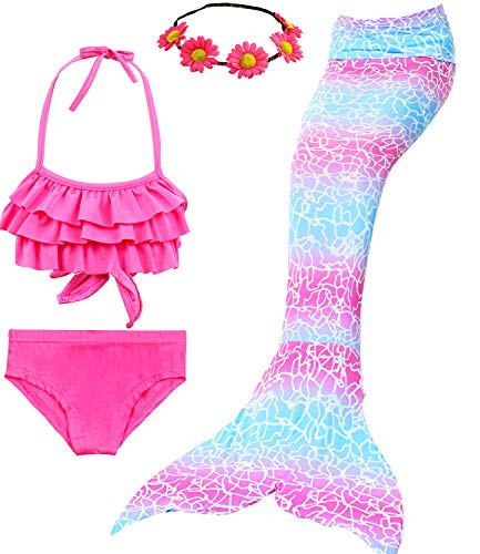 3 PCS Girls Swimsuit Mermaid Tails for Swimming Kids Mermaid Princess Custome for Girls Bikini Set Bathing Suit 3-12Y (5-6T/Ht45-47in(Tag 120), B- Cherry Blossom Pink)]()