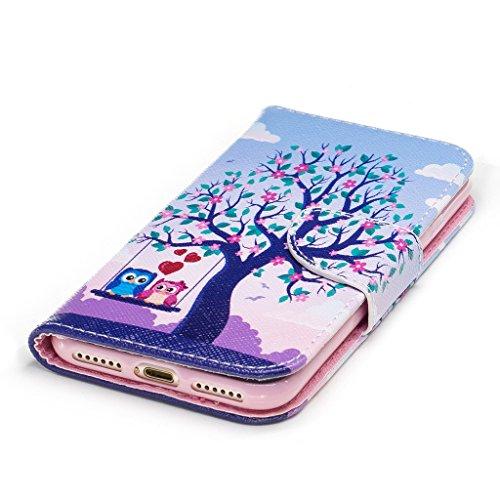 Crisant Baum im Vogel Drucken Design schutzhülle für Apple iPhone 7 4.7'' (4,7''),PU Leder Wallet Handytasche Flip Case Cover Etui Schutz Tasche mit Integrierten Card Kartensteckplätzen und Ständer Fu