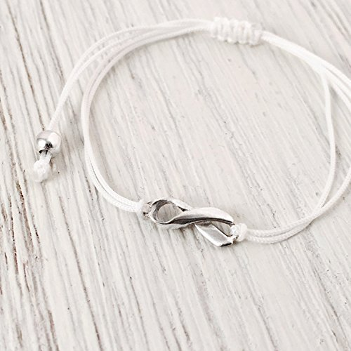 - November Lung Cancer Aware Month - White Friendship Support Bracelet, SMALL Handmade Sterling Silver Ribbon Shaped Charm. Awareness for Postpartum Depression, White Ribbon Day. Adjustable Thread