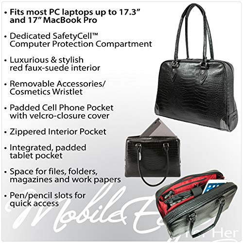 Mobile Edge Women's Milano 17 Inch Business Laptop Handbag Faux Croc, Soft Poly-Suede Lining Protection, Black MEMC1L by Mobile Edge (Image #6)