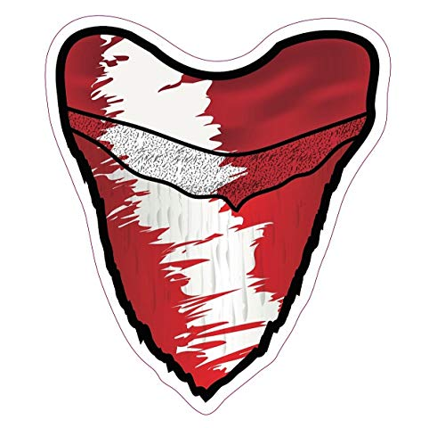 Deep Sea Fossils Scuba Diving Vinyl Decal Car Sticker with Megalodon Shark Tooth Diver Down Flag - 5-1/2