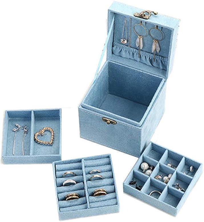 DXIA Caja Joyero Caja de Joyas, Organizador para Bisuterías, Estuche Rectangular para Guardar Joyas, Pendientes, Anillos y Collares, Espejo y Cajones (Azul): Amazon.es: Joyería
