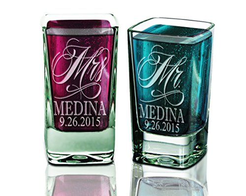 Set of TWO Mr. and Mrs. Shot Glass Personalized 2.75oz with Date Last Name for Future Mrs. Bridal Shower Wedding Newlyweds Gift Favor Rehearsal Decor ()