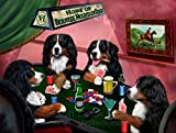 Home of Bernese Mountain 4 Dogs Playing Poker Art Portrait Print Woven Throw Sherpa Plush Fleece Blanket (37x57 Sherpa)