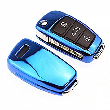 Atonix Blue TPU Glossy Metallic Finish Smart Remote Folding Flip Key Fob Shell Skin Case for Audi