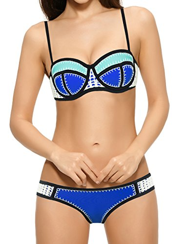 iBayda Color Structured Women's Handmade Crochet Neoprene Bikini Wet Suit,196 Blue+Green-S