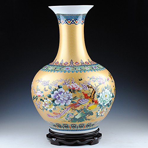 Oriental Hand Painted Porcelain (Chinese Porcelain Vase Flower Home Office Decor Hand Made and Hand Painted Porcelain with Floral Pattern (22