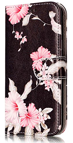 Eclipse Wallet (Galaxy J3 Prime Case, Galaxy J3 Emerge Case, Galaxy J3 Eclipse Case, J3 2017 Case, JanCalm Pattern Premium PU Leather [Card/Cash Slots] STAND Flip Cover + Crystal pen (Black / Flower))