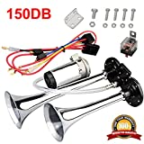 Airzir 12V 150dB Air Horn Kit, Super Loud Twin Tone Chrome Plated Zinc Dual Trumpet Air Horn with Compressor for Any 12V Vehicles Car Truck RV Van SUV Motorcycle Off Road Boat (Silver)