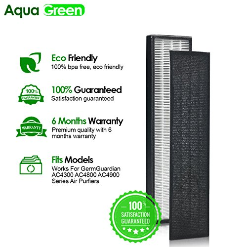 AQUA GREEN GermGuardian FLT4825 Filter B Compatible HEPA Replacement Filter for AC4300,AC4800,4900 Series Air Purifiers
