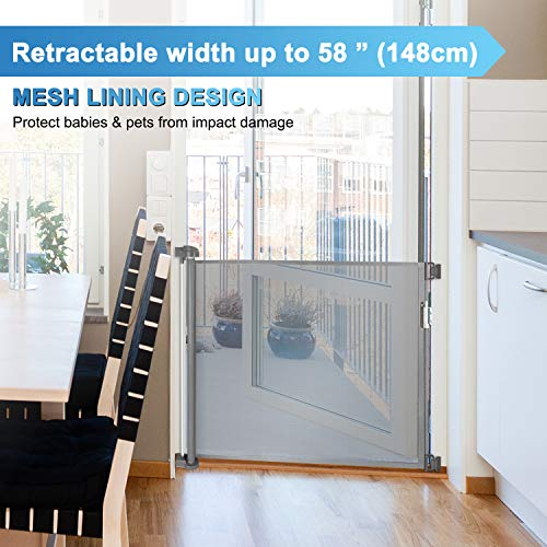 To-Banister-Retractable Safety Gate Wide And Regular Sizes Khaki Cikuso Baby And Pet Gate