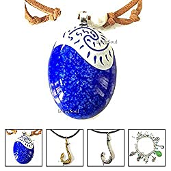 Disney Moana Necklace for Women - Princess Seashel Stylish Heart of Te Fiti Locket Pendant (Blue)