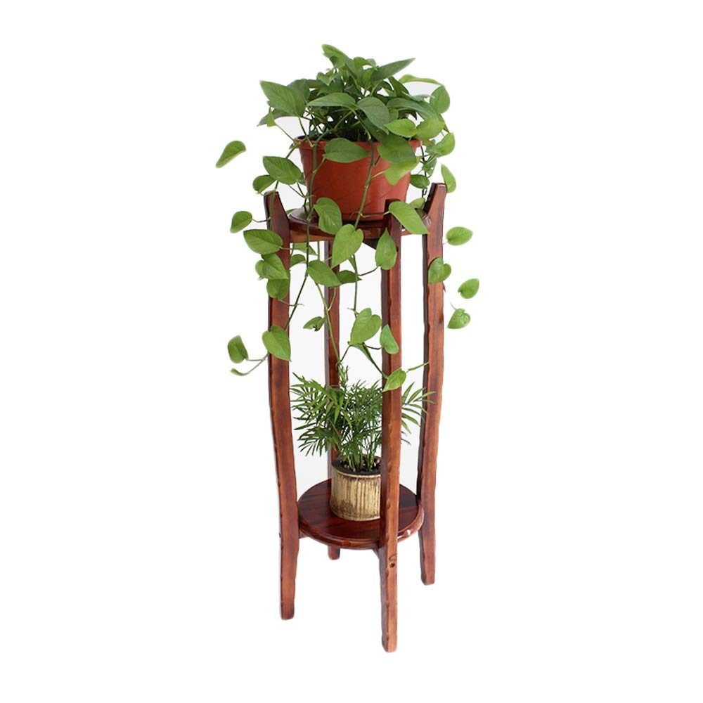 100CM Qing MEI Living Room Solid Wood Flower Stand Indoor 2 Layer Bonsai Flower Pot Shelf Simple Round Table Flower Shelf (H62cm, H80cm, H100cm) A++ (Size   62CM)