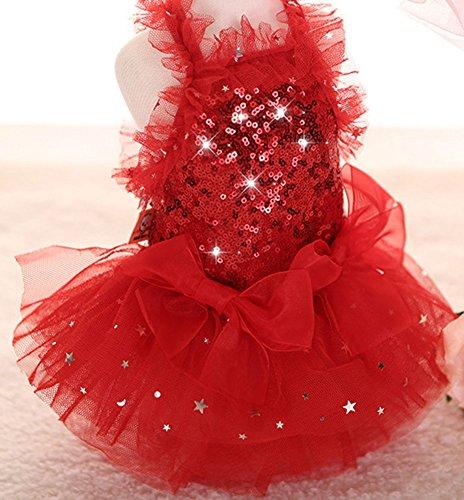 Mode Marupet Amour Chiot Chien Doux Jupe Princesse Imprimé Gâteau Dentelle Chien Animal Camisole Tutu Robe D'un Rouge-1