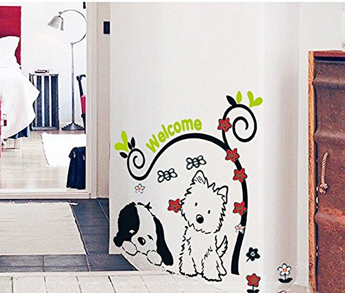 BIBITIME Cute Dog Saying Welcome Quotes Sticker Flower Vine Art Wall Stickers Bees Vinyl Decals for Nursery Kids Room,DIY 12.99 x 23.62