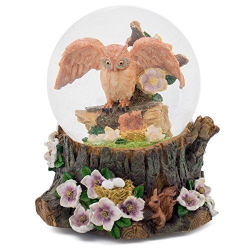 Cadona International, Inc Wise Owl 100MM Music Water Globe Plays Tune Music of The Night