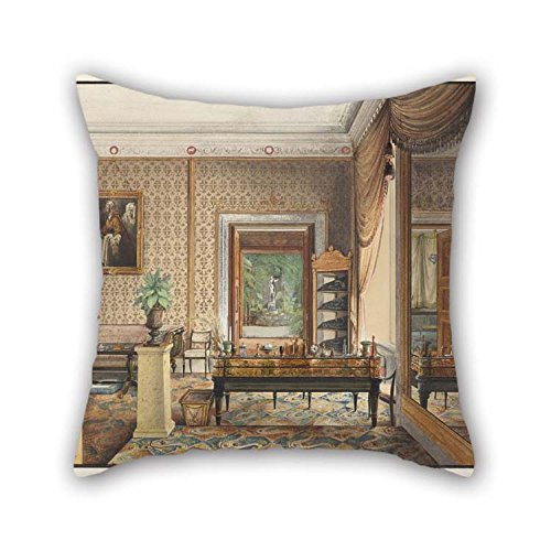 Oil Painting Eduard Gaertner - The Study Of Prince Karl Of Prussia Throw Pillow Covers Best For Living Room Car Seat Drawing Room Club Son Home 16 X 16 Inches - King If Prussia