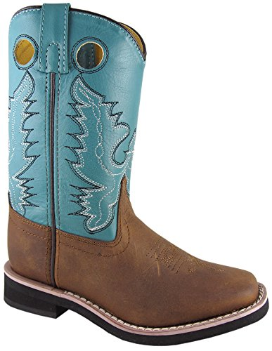 (Smoky Mountain Kids Western Pueblo Boots - Distress Brown/Turquoise Youth 3.5)